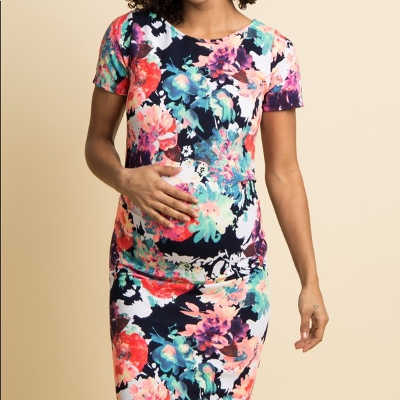 d16cf5368569b Navy Neon Floral Print Fitted Maternity Dress. M_5c4b481fc89e1db1adb44664